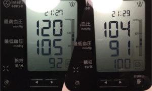 今日の血圧 使用前・使用後?