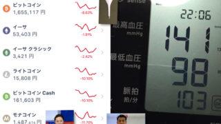 今日の仮想通貨と血圧