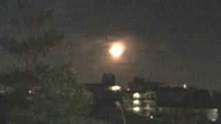 今朝の寅さん記念館上 明るい月が出ていた