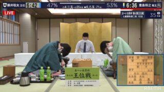 第62期王位戦第2局1日目 戦型は角換わり、藤井聡太の腰掛角は暴発気味か?